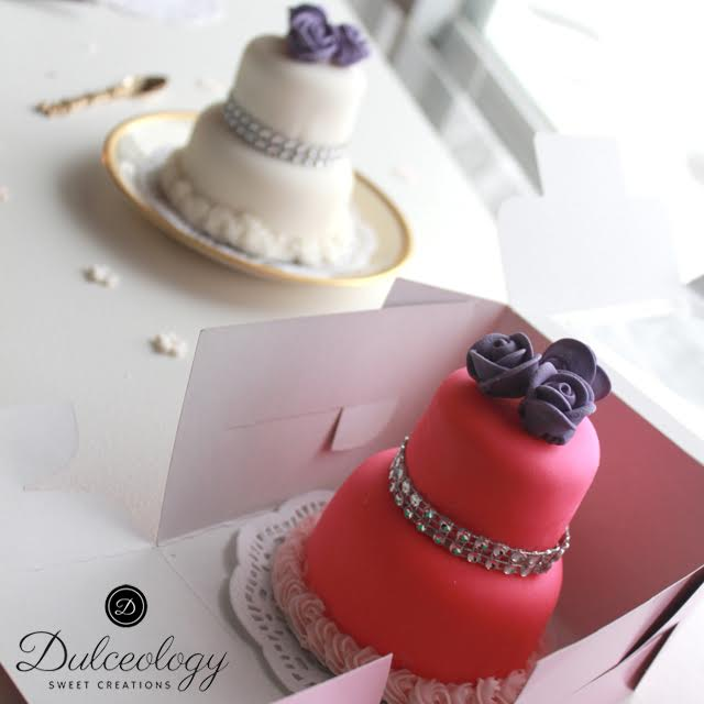 Pictured above is a two tiered mini cake covered in fondant.