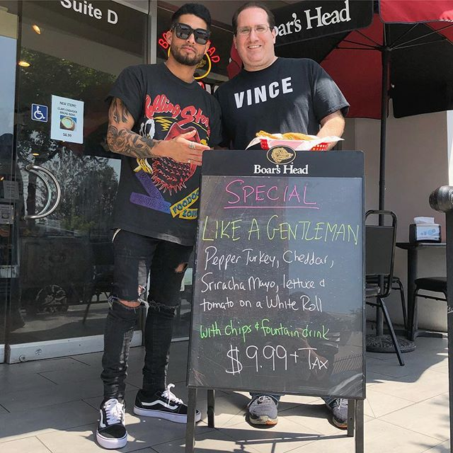 "Proud to announce we now have our very ""LIKE A GENTLEMAN SPECIAL"" every Friday at the Legendary Sunset Deli 👏🏼🤘🏼Thanks Darren ! #LikeAGentleman #SunsetDeli #SandwhichesOnSunset #MamaWeMadeIt #AddAvacadoAndBaconItsOver"