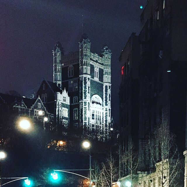 The Neo-Gothic Towers of @ccnycitycollege Shepard Hall rise above the sign-lit hills of St Nicholas Park and bid adieu to the Northeast @aiasorg #REACHQuad conference. It's been real, y'all. 😘