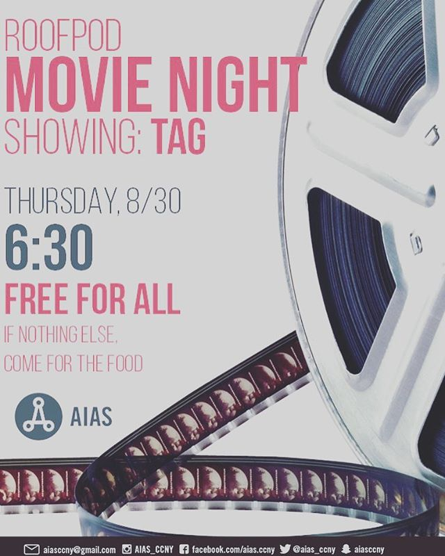 Welcome back!!! Let's start this new semester by having a fun movie night in the roofpod  at 6:30 pm after studio with some great company, food, laughter, and new friends. We have popcorns so feel free to pop in and mingle with everyone!😁