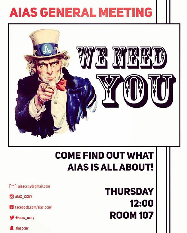 Our very first General Meeting is on Thursday. Where we will be discussing 5 sub- committees that we have created for you and other opportunities that you can gain from AIAS. This is also a good opportunity for you to meet the AIAS board and discuss what's on your mind or any questions you may have.  #aias_ccny #general_meeting2019