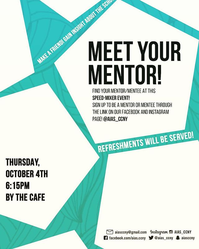Hey everyone! AIAS will be hosting their annual mentor mixer. Where you can choose to be a mentor or mentee, link is in our bio. We will also be raffling off a APPLE WATCH  that we won during Grassroots over the summer.