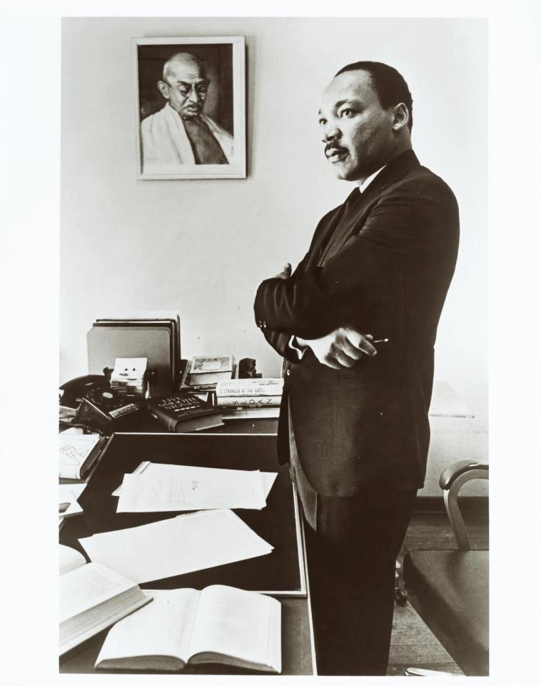 -  What I notice most of Martin Luther King Jr's space is the portrait of Mahatma Gandhi whose non-violence he found so inspirational (also, note the workmanlike quality of the desk and chair).