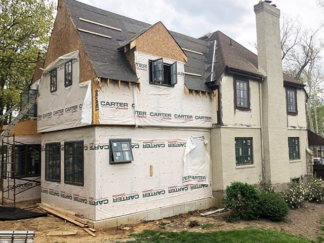 Gloomy rainy Chicago day...wish we were on site elsewhere!  It's a drier day at the Ohio site where paint colors and new roofing samples are being explored to update the new and the old.  #ohioarchitecture #wyomingohio #moderntudor #newmeetsold