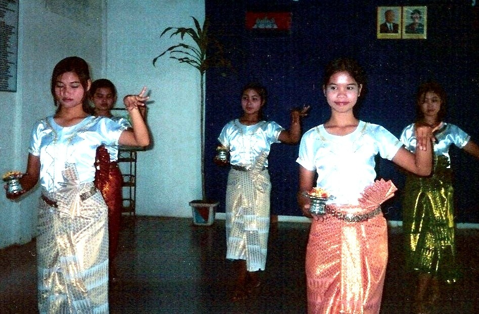 Girls at Takeo perform a traditional Khmer dance, wearing costumes they made themselves. Their dance troupe is considered the best in the area for the traditional dances, and participation is considered an honor.