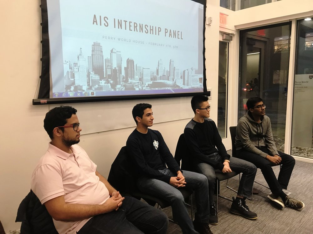 A&E Workshop Series #1: Internship Panel - The Alumni and Employment Committee of AIS held its first of the workshop series, the Internship Panel. Four panelists discussed their experiences working at Penn over the summer through programs such as PURM, SPUR and Pennovation Center.