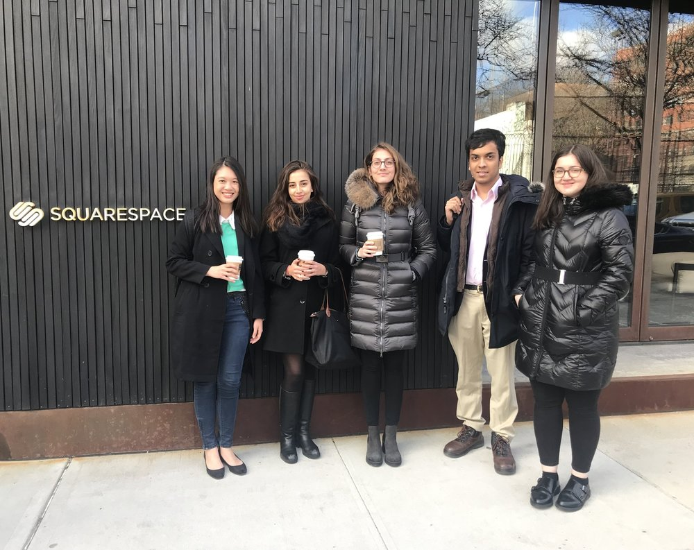 A&E NYC Career Trip - The Alumni & Employment Committee hosted a Career Trip to New York City to visit the offices of Squarespace and MongoDB. The event allowed students from international backgrounds to meet recruiters and current employees. Students were able to network with many of the employees and gained an insight into working in the US after graduation.