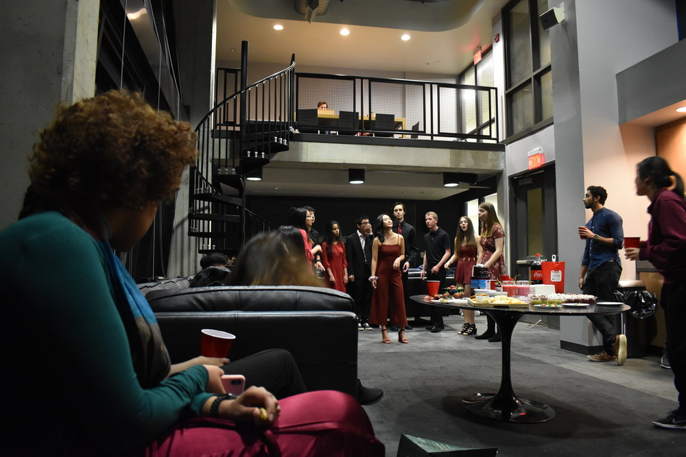 Love Mixer - The first social event of the semester was held on February 16th and was a Valentines themed mixer. Performers included Keynotes and Disney A Cappella. Students had the opportunity to mingle, enjoy the music and unwind in the midst of midterm season.