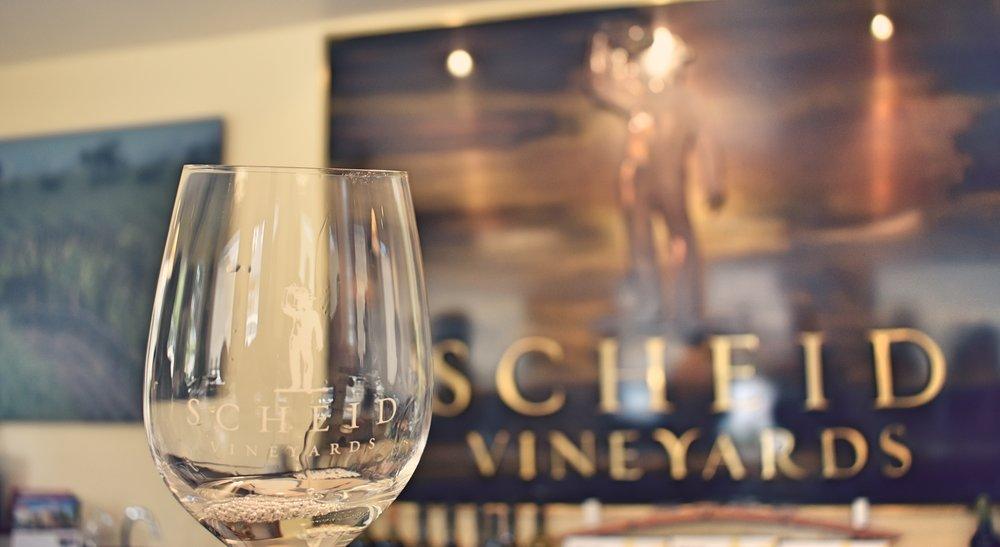 Wine tasting at Scheid Vineyards.