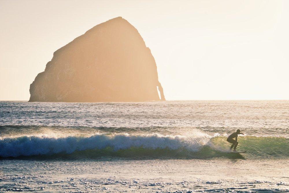 Surfing at Cape Kiwanda - Oregon