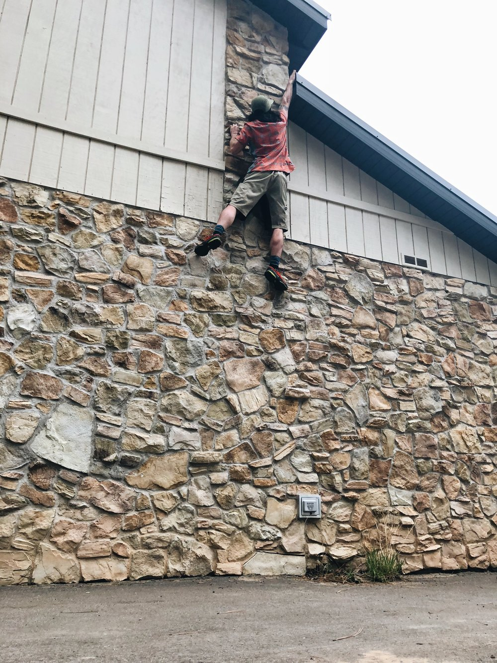 Kevin making a first ascent on the Jacob Lake Inn