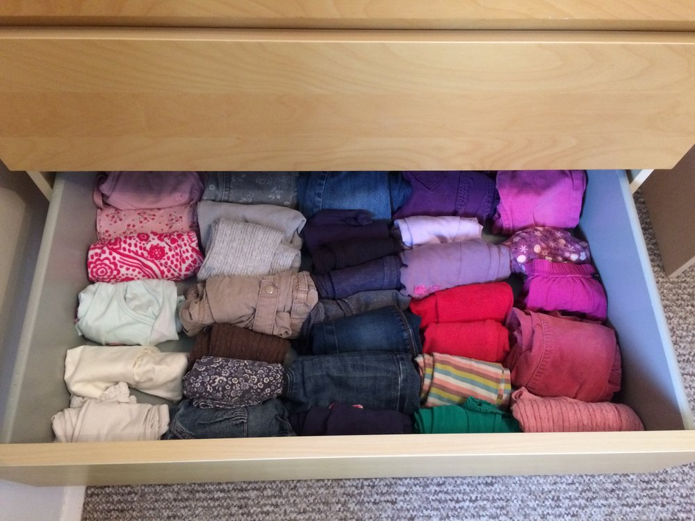 rolled clothing in drawer.JPG