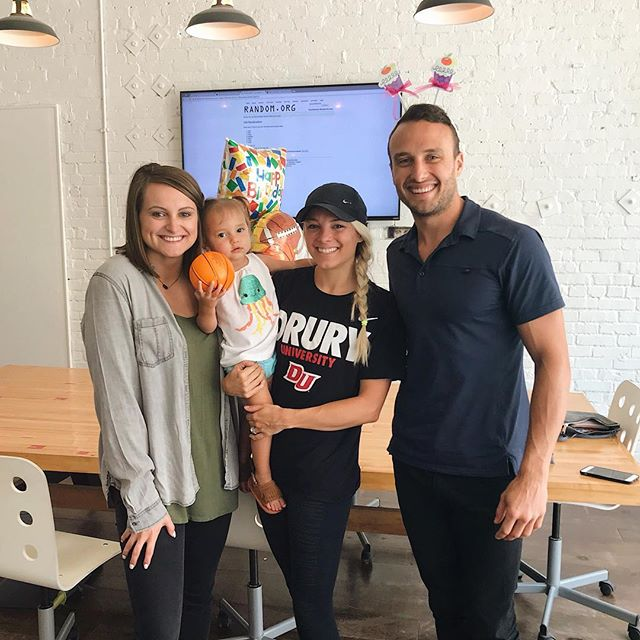 @coach_mollymiller stopped by (with Crosby) to help us celebrate Bryan's 30th birthday. Happy birthday, Bryan! 🎉👊🏻💯 #hookcreative #digitalagency #agencylife #downtownsgf