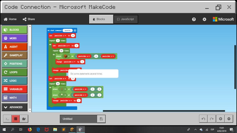 ¡Construyendo en Minecraft con código!