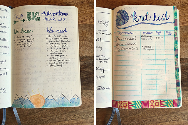bullet journal collections woa