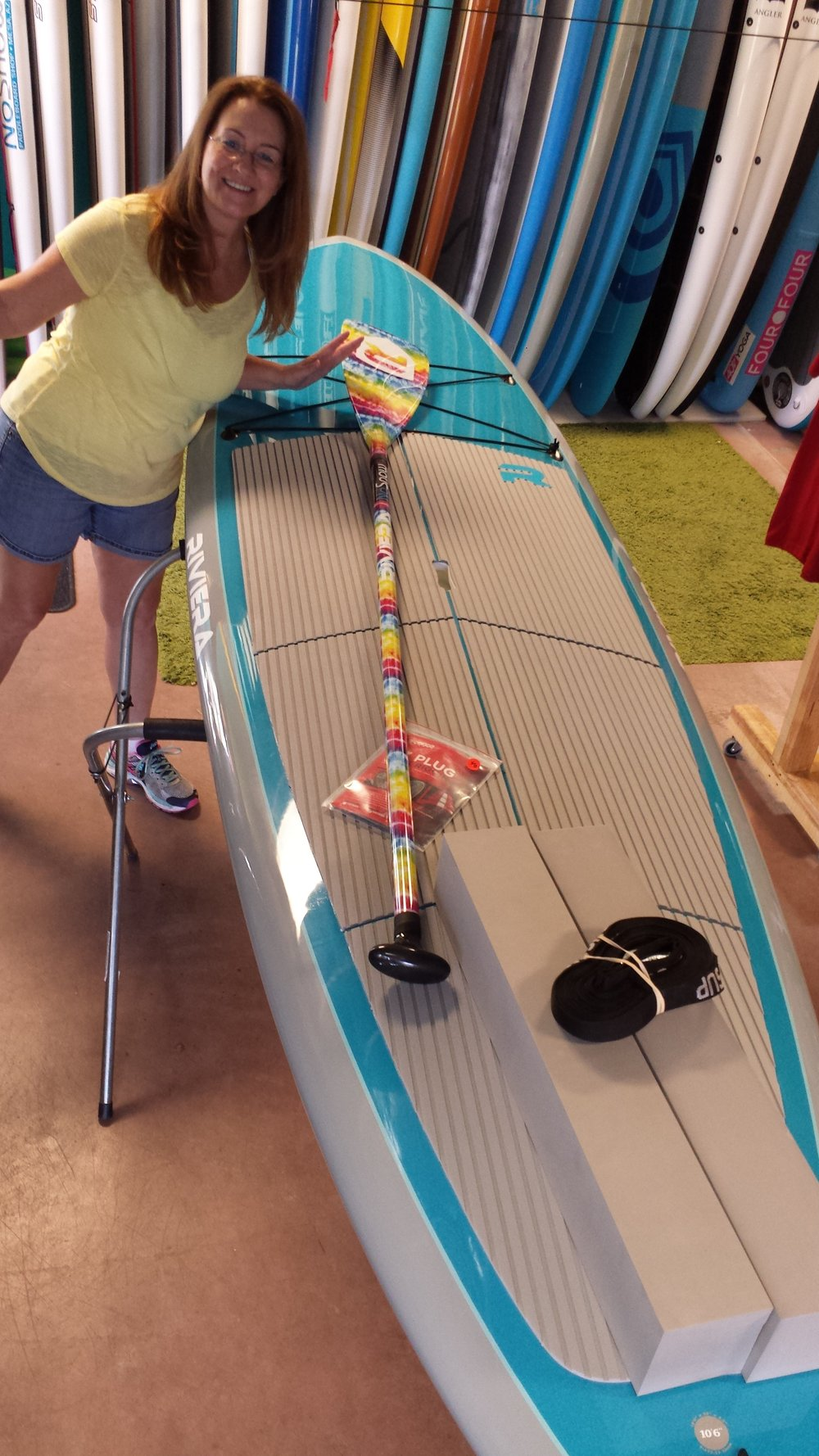 WOA member, Elise, with her new SUP!