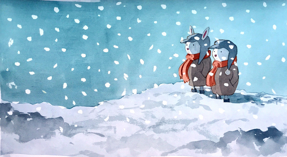 Snow. Bunnies. - Two bunnies marvel at how snow makes everything look different and mysterious. When they explore a snow-covered land, it's like exploring the surface of the moon…