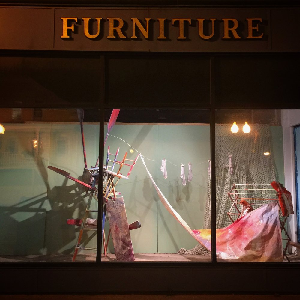 Window display. Marking Memories. Old furniture store. Adams, MA.