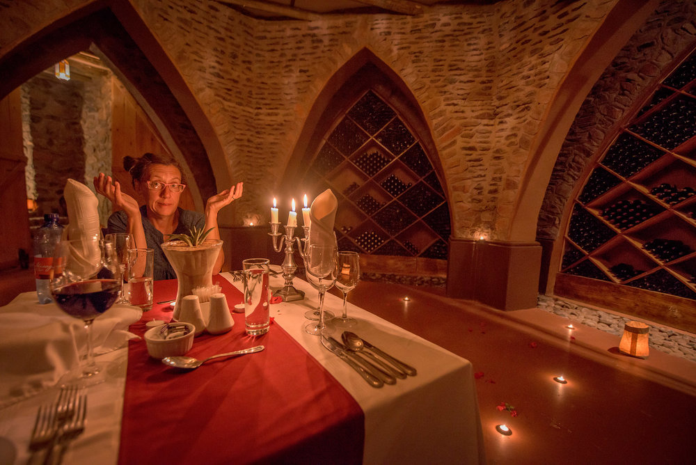 A romantic dinner for two in the wine cellar. Hmm. Could we, uh, ... perhaps borrow a corkscrew?