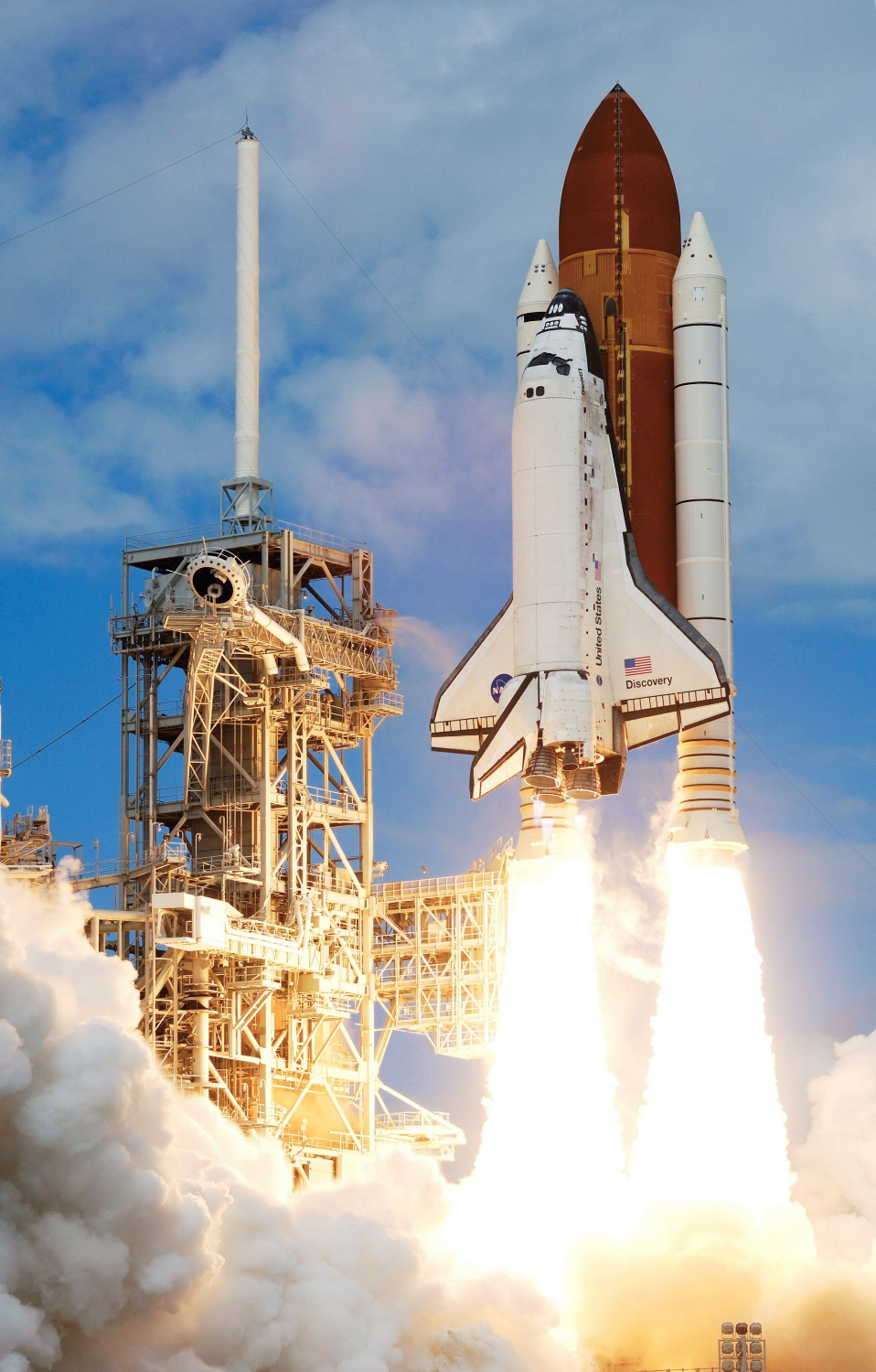 The Space Shuttle stack upon liftoff, STS-120 in 2007. I was at the Visitor's Complex for this launch. (Courtesy of NASA)