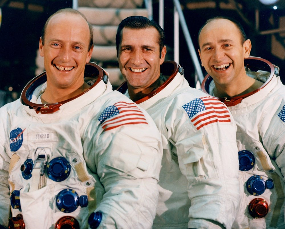 "The crew of Apollo 12. L-R: CDR Charles ""Pete"" Conrad, CMP Richard Gordon, and LMP Alan Bean. (Courtesy of ALSJ)"