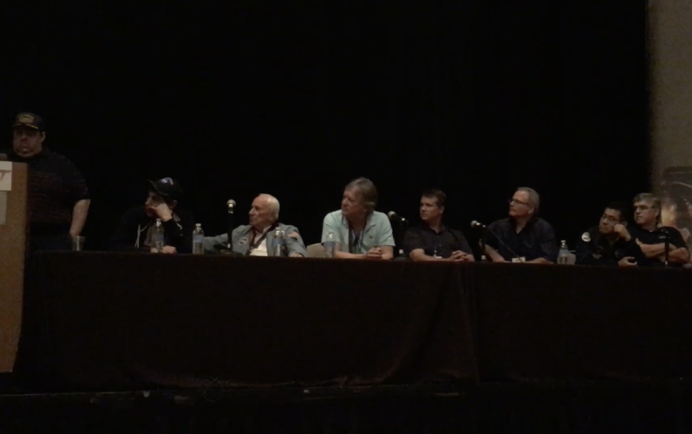 L-R: Moderator/collectSpace founder Robert Pearlman, screenwriterJosh Singer, technical advisor/astronaut Al Worden, family advisors Rick Armstrong, Mark Armstrong, artist Chris Calle, costume designer Ryan Nagata, and technical advisor Rick Houston. Author Jim Hansen participated via telephone.
