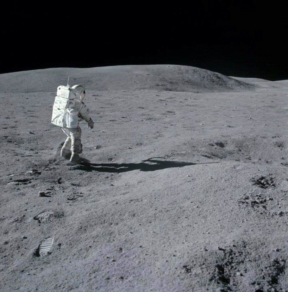 Charlie Duke stands in awe of the Moon during his 3-day visit there in 1972. (NASA:AS16-114-18427)