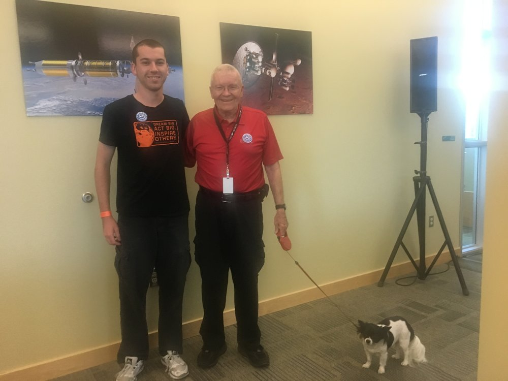 The author, Fred Haise, and his dog Tito at Infinity in April.