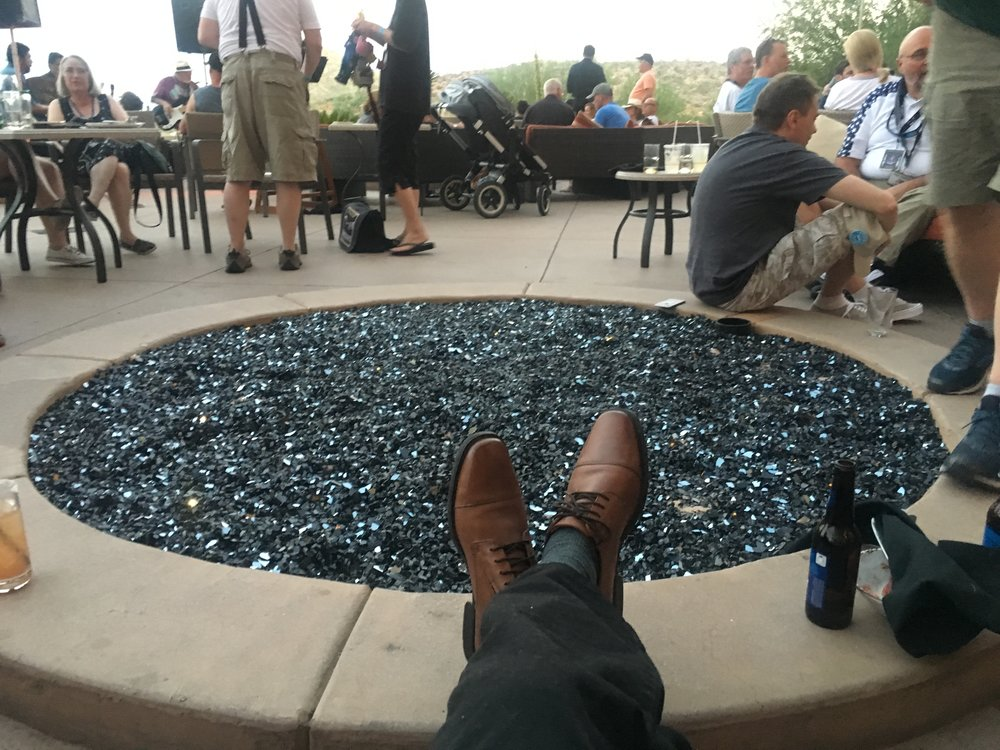 Feet up around the fire pit, friends everywhere!