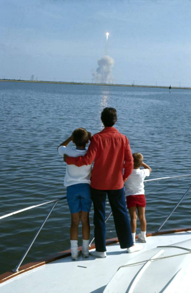 The real Rick, Janet, and Mark watch Apollo 11 launch from a boat in the Banana River. (Photo: LIFE)