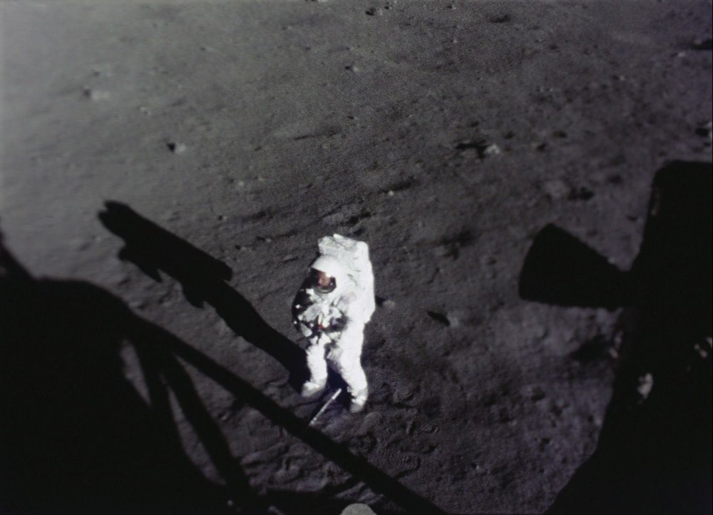 The real Neil Armstrong at Tranquility Base, seen from within the LM. (Photo: NASA)