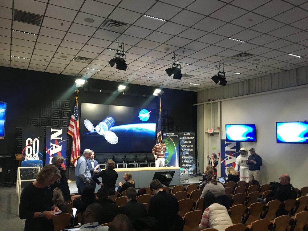 The press conference room at NASA Wallops.