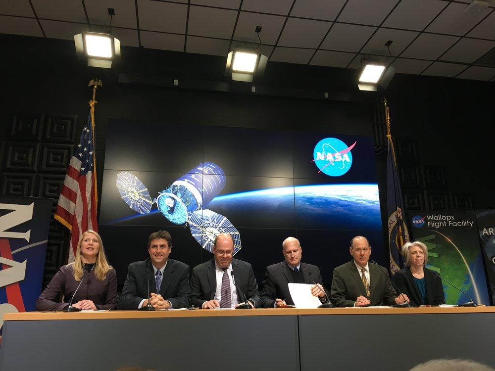 Panel members L-R: Stephanie Schierholz (NASA Communications Office), Joel Montalbano (NASA Johnson, ISS), Frank DeMauro (Programs, Northrop Grumman), Kurt Eberly, (Antares, Northrop Grumman), Doug Voss (Range, NASA Wallops), and Tara Ruttley (Microgravity Research, NASA Chief Scientist Office).