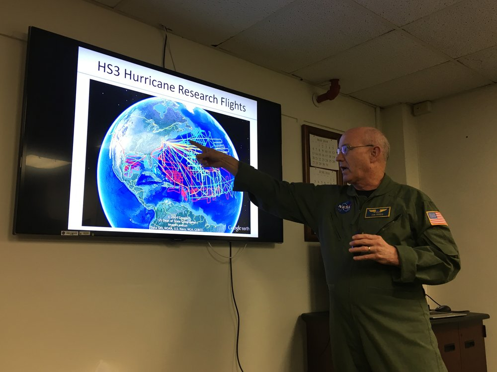 Rich Rogers, Pilot and Aircraft Office Manager, explains hurricane research conducted by Wallops Flight Facility.