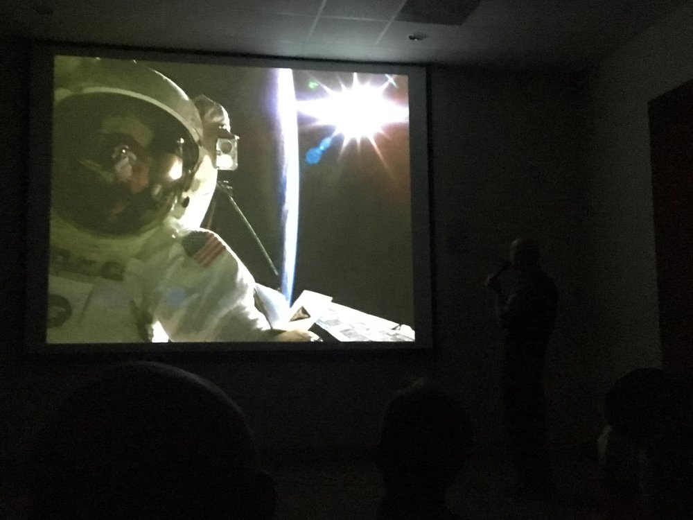 Story Musgrave during an EVA on STS-61, repairing the Hubble Space Telescope. (Slide image: Story Musgrave/NASA)