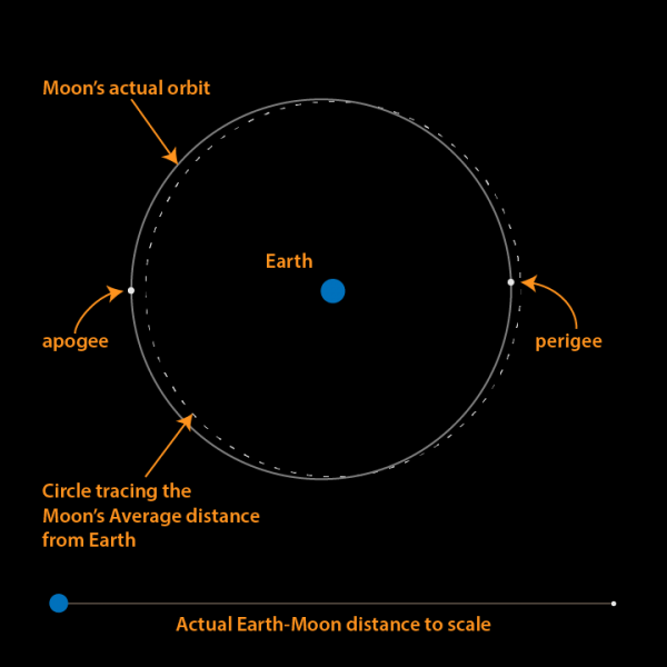 Top-down view - the Earth/Moon system, displaying the actual orbit of the Moon (solid line) and its average distance (dotted line). The Moon's average distance is ~384,000 kilometers from Earth. (Image: Brian Koberlein, courtesy of EarthSky)