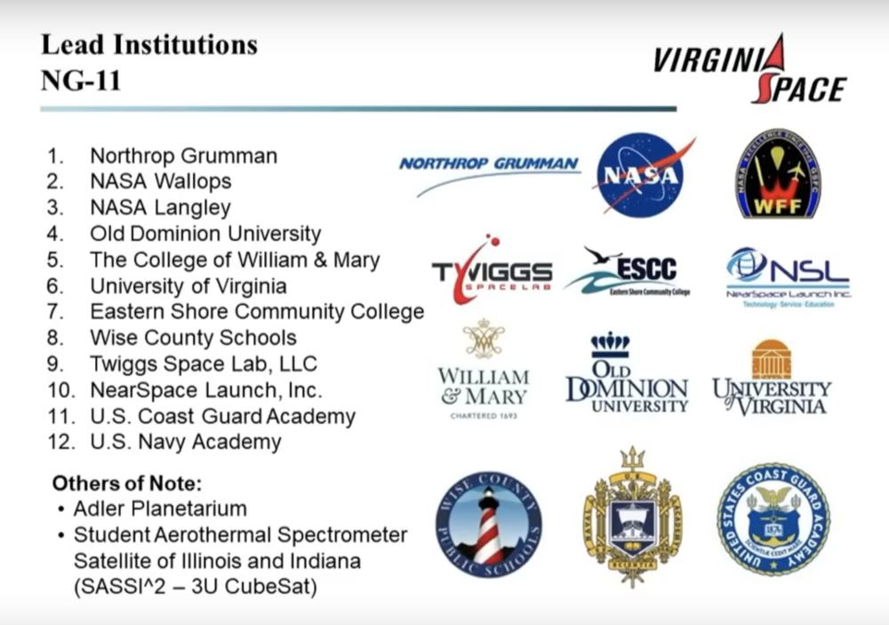 A list of institutions involved in this mission's ThinSat payload. (Image: NASA TV)
