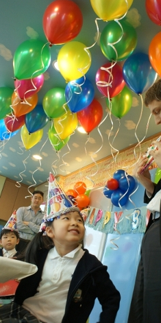 at a birthday party in the school
