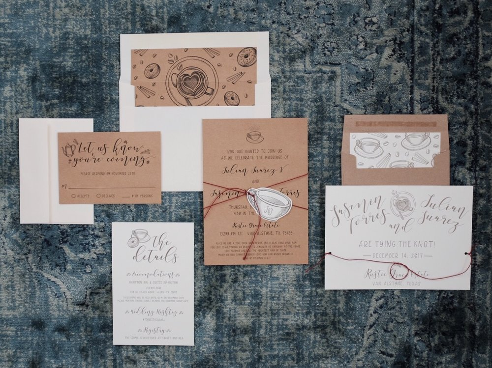 Full Custom Java Inspired Wedding Invitation Suite