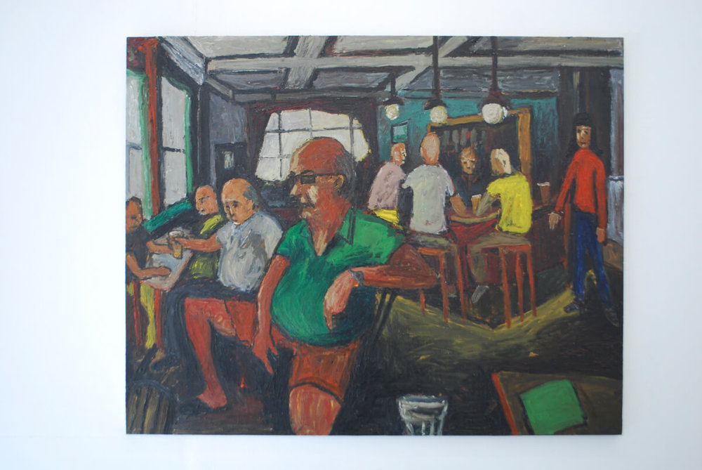 Ben Westley Clarke // Inside The Cock Tavern, 2016 Oil on plywood, mounted on Aluminium,  140x190cmsm.jpg