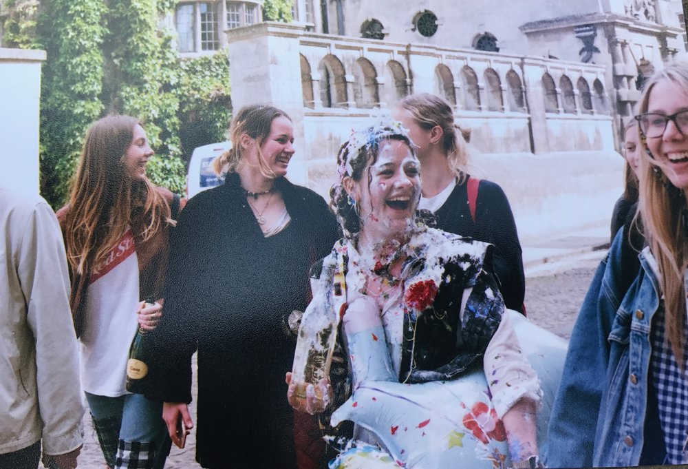 An Oxford undergraduate celebrates the end of her second-year exams