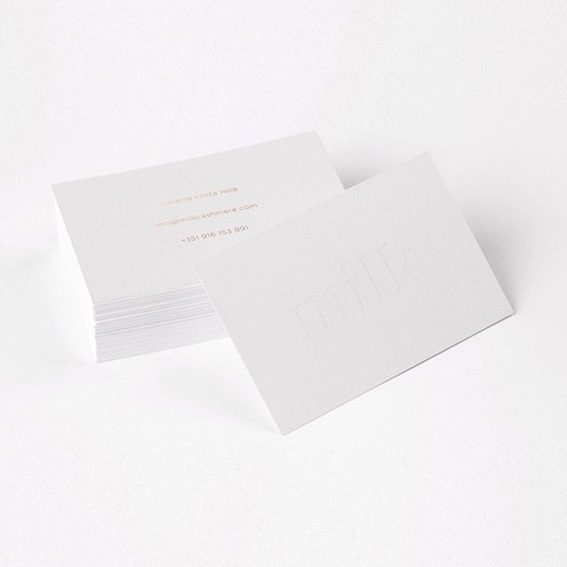 Minimal business cards and branding designed for Milk Cashmere by BTL Brands.