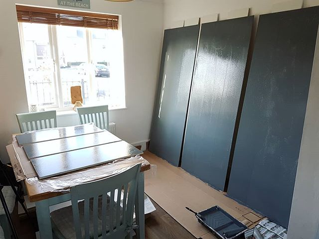 Been a bit quiet here for the last few weeks. Mad busy with things including this project, a load of extra cook book and kitchen tool storage! Painting the backboards before the units get put together. More videos coming soon!  #diy #storage #homeimprovements #building #grey #painting #ikea #organising #bookcase  #diningroom #project #ikeahack #shelves