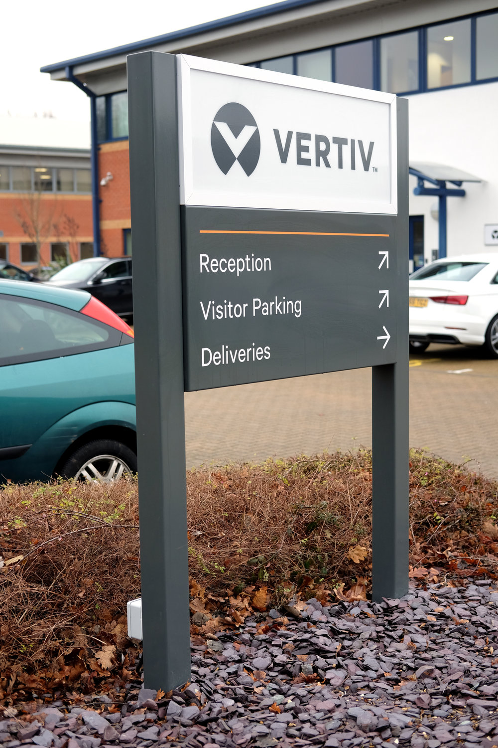 We were approached by Vertiv to rebrand the Emerson Network Power sites across the UK and Ireland, after Vertiv acquired the business. We had a short timeframe to complete this project, from survey through to install, including illuminated tray signs, internal slat systems and monoliths
