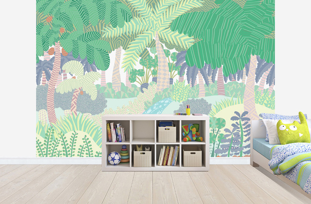 kids bedroom wallpaper jungle pastel colours photowall 2