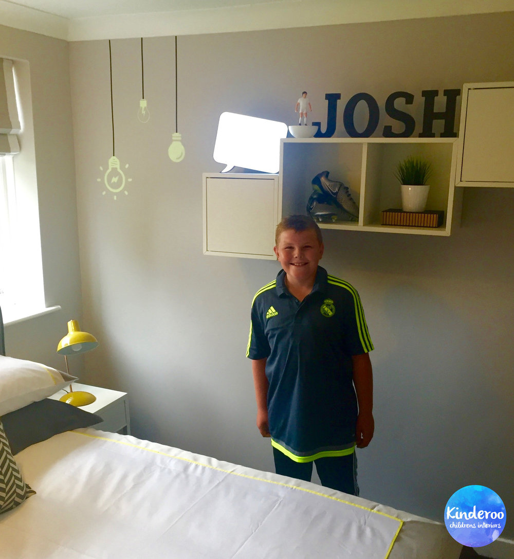 Josh in his new room