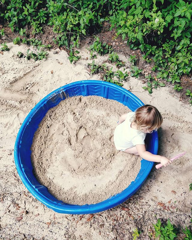 """""""When the world is your sandbox, don't color inside the lines."""" 😂 Or something like that.  It's fun watching our two year-old grow into a little maker who respects boundaries, but challenges conformity.  I think I can even see a little of what it's like to follow Jesus: we respect man, and honor God. We love others as we build a Kingdom that often challenges institution. We celebrate strengths and diversity while chasing after the best the Lord has for us. We're different, but it's because we're trusting that what He says is good is, in fact, good. ---- In other news, the weather's beginning  to feel like Florida just as this kid decided she'd rather have a sandbox than a swimming pool. Good grief. 😋"""