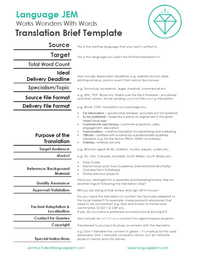 Translation Brief Template Language Jem