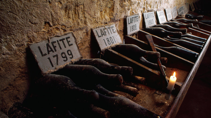 Bottles of Lafite Bordeaux France