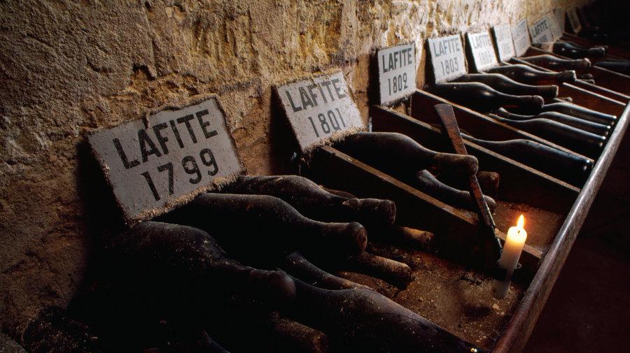 Bottles of Lafite Bordeaux France